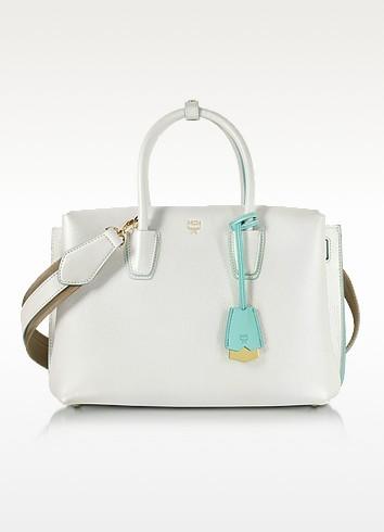 White Flake Leather Milla Medium Tote Bag - MCM
