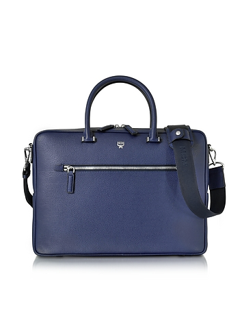 MCM - Pistol Blue Ottomar Grain Leather Medium Briefcase