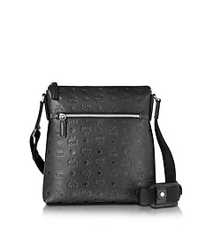 Otto Black Monogram Leather Small Messenger Bag - MCM