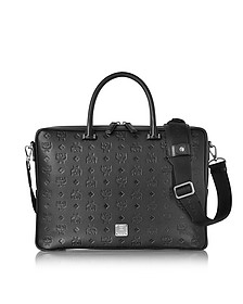 Otto Black Monogram Leather Medium Briefcase - MCM