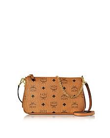 Millie Visetos Cognac Medium Zip Crossbody Bag - MCM