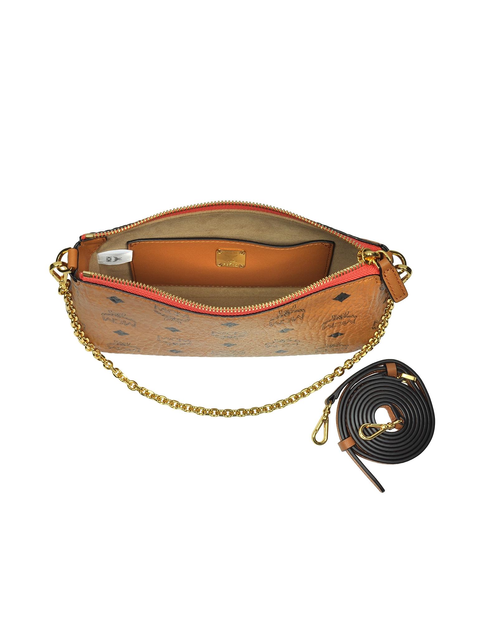 Millie Visetos Cognac Medium Zip Crossbody Bag от Forzieri INT