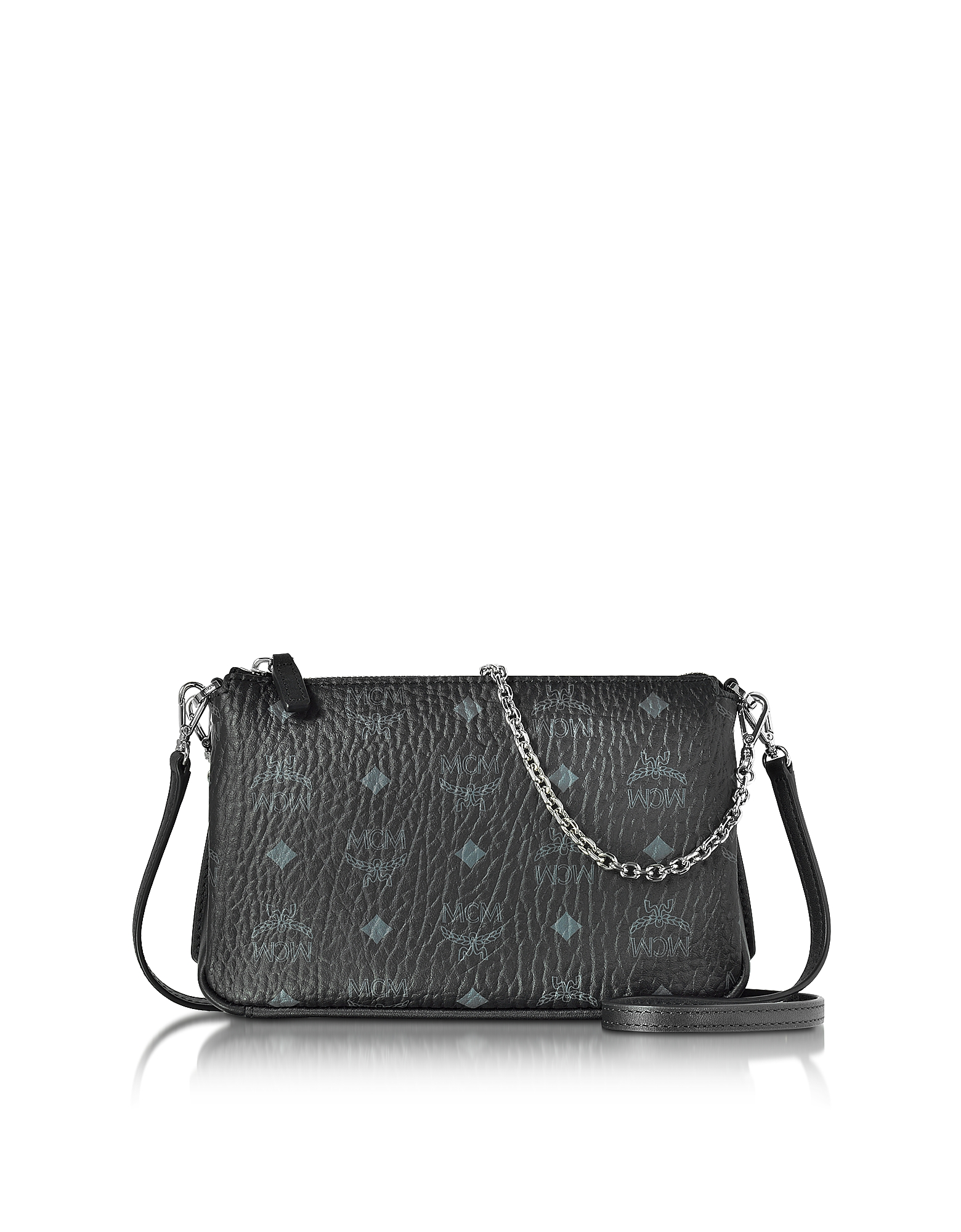 MCM Handbags, Millie Visetos Black Medium Zip Crossbody Bag