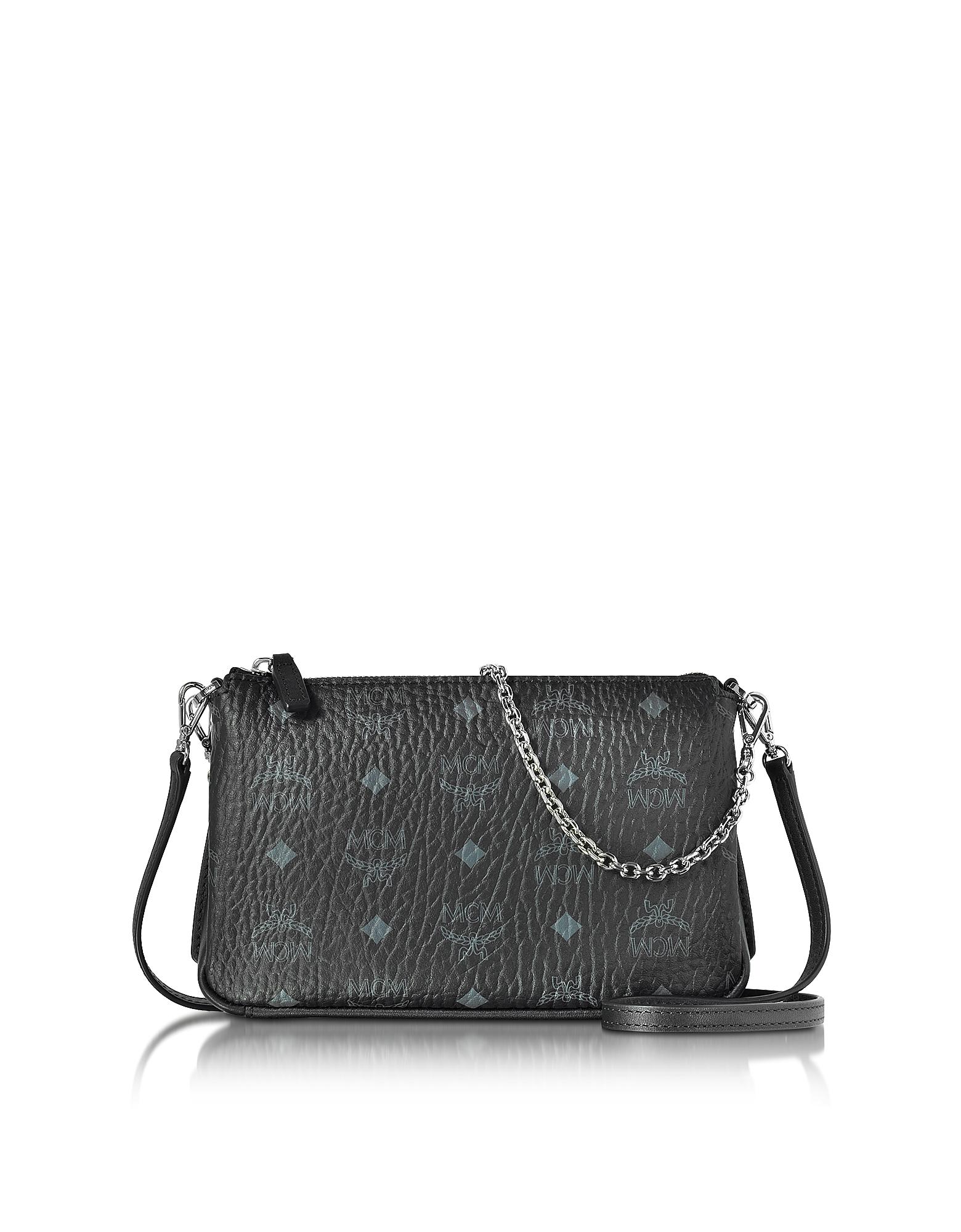 MCM Handbags, Millie Visetos Black Medium Zip Crossbody Bag