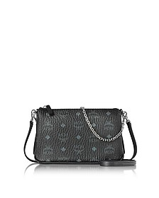 Millie Visetos Black Medium Zip Crossbody Bag - MCM