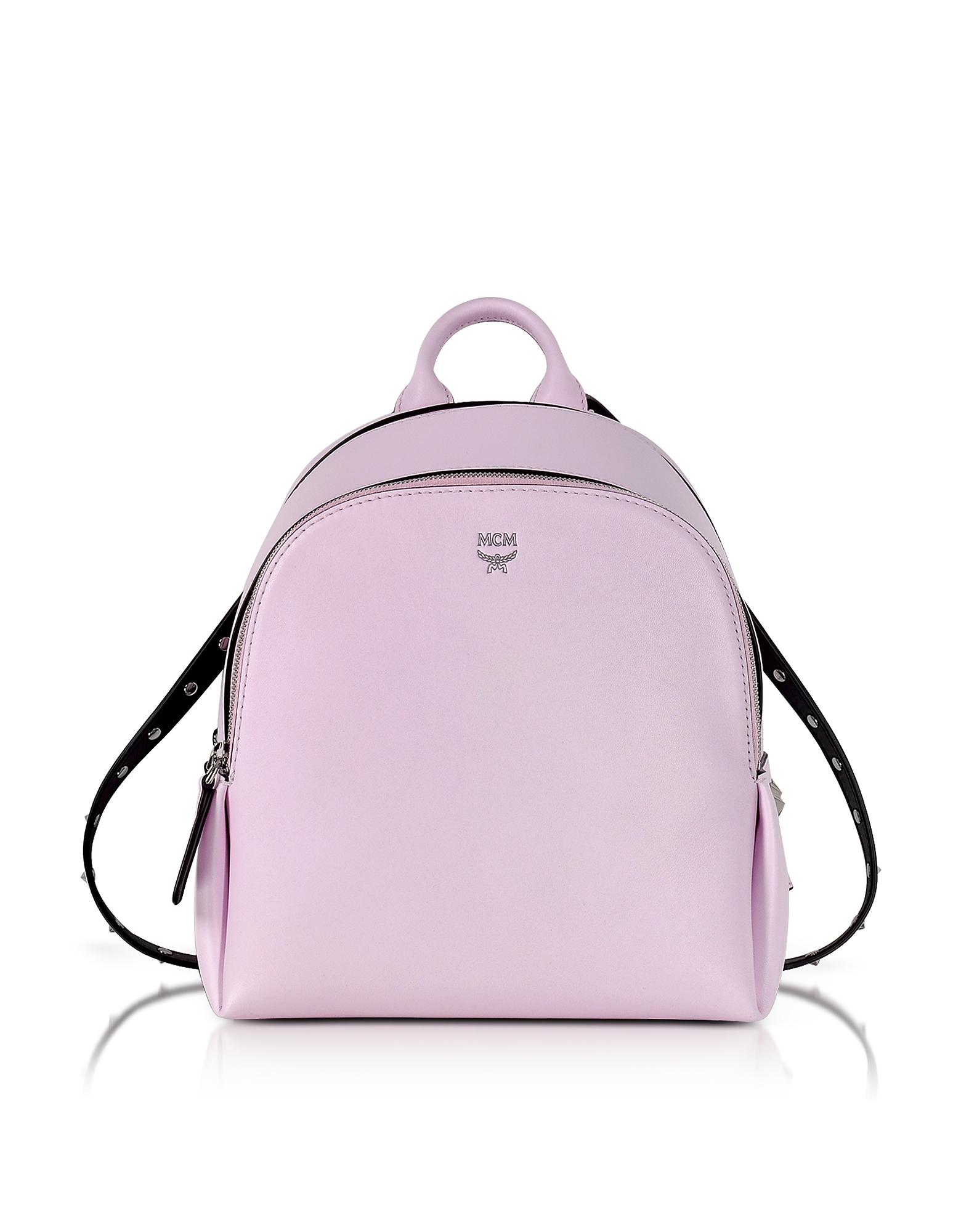 Фото Маленький Розовый Кожаный Рюкзак с Круглыми Заклепками. Купить с доставкой