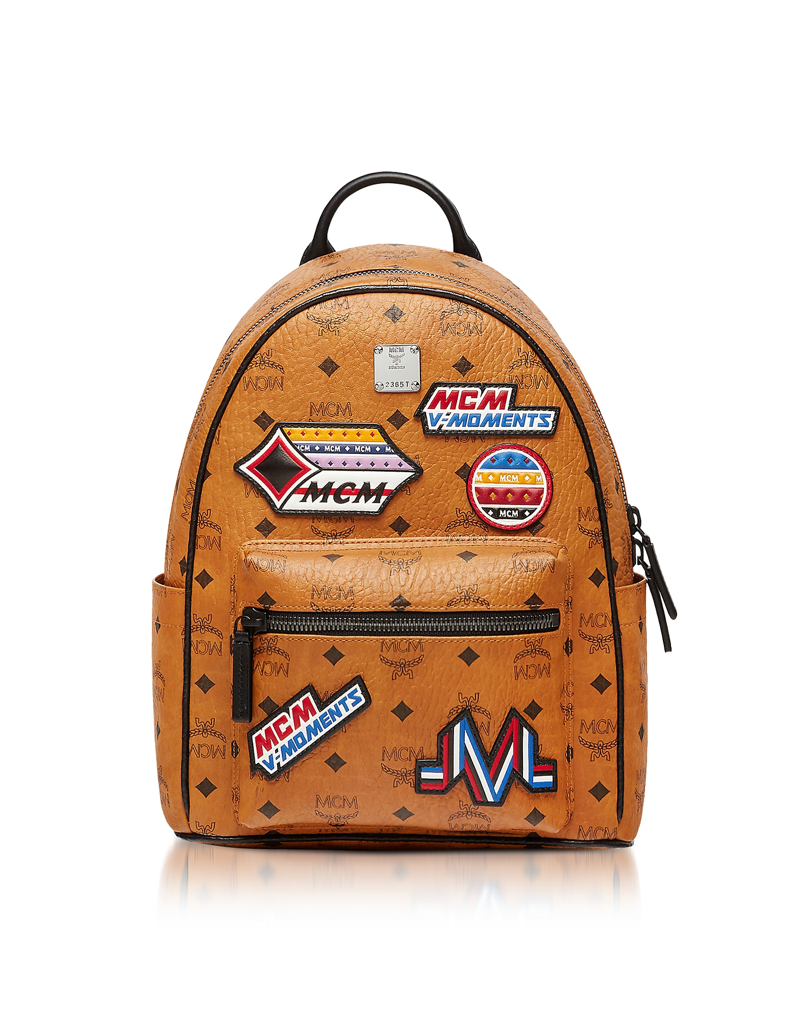 MCM Handbags, Small Cognac Victory Patch Visetos Stark Backpack