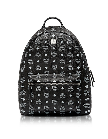 MCM Black Medium White Logo Visetos Stark Backpack