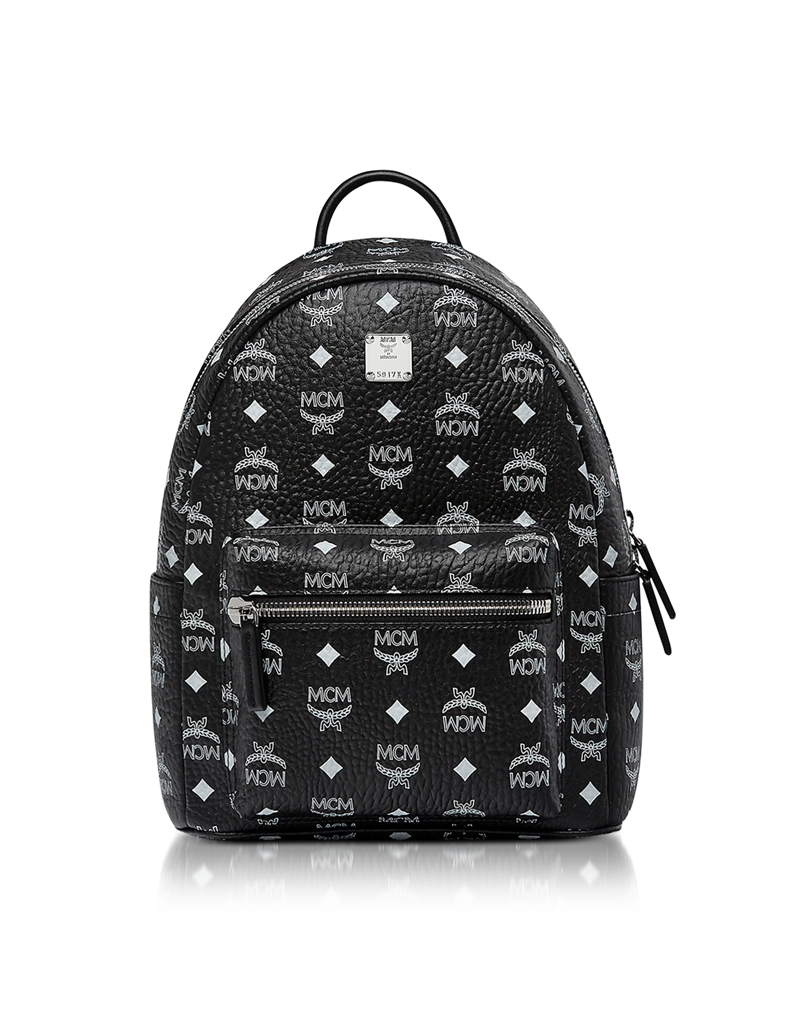 MCM Handbags, Small Black and White Logo Visetos Stark Backpack