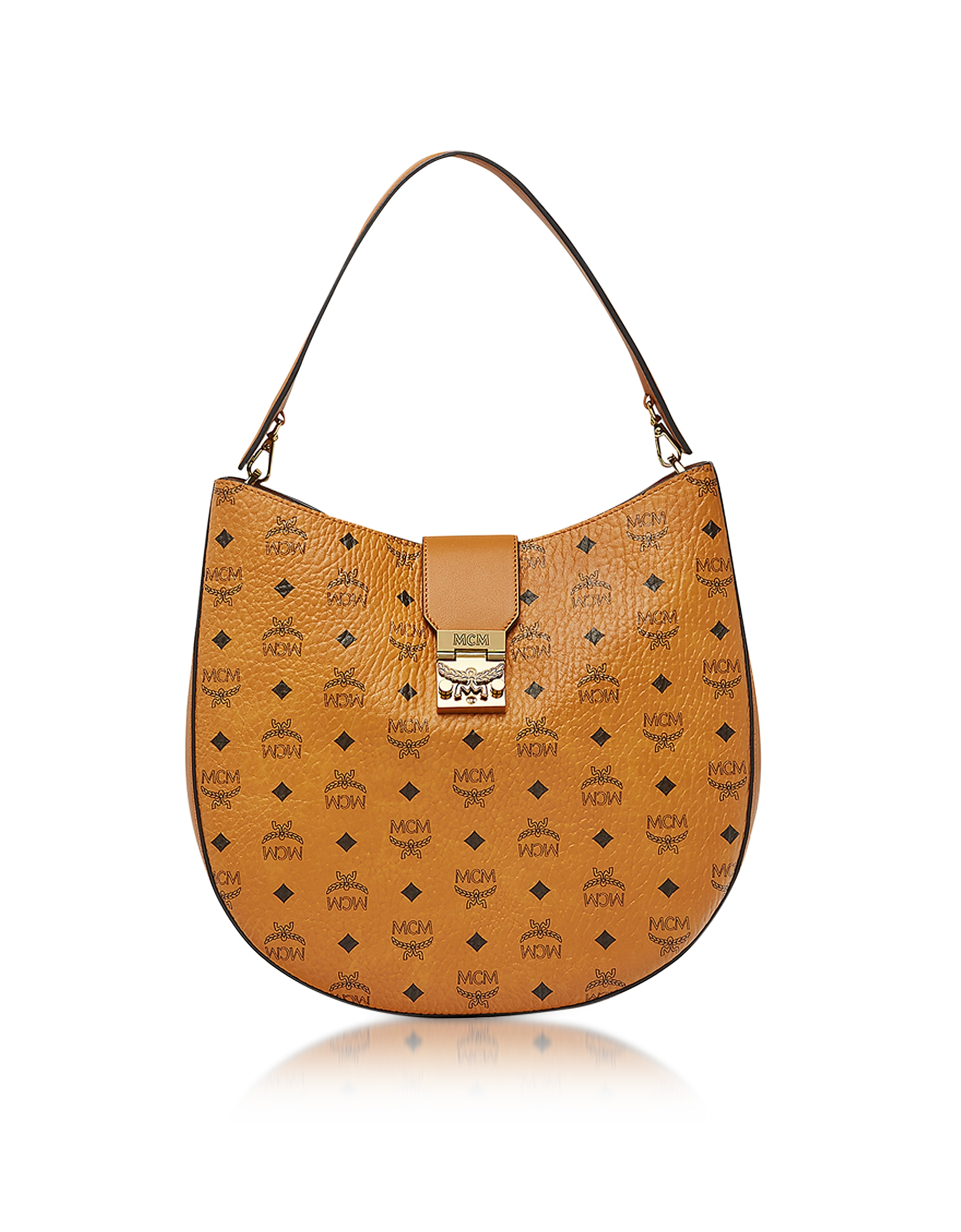 MCM Handbags, Patricia Visetos Large Cognac Hobo