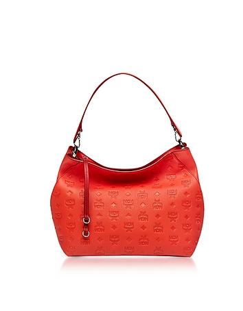 Klara Marigold Orange Monogrammed Leather Medium Hobo Bag