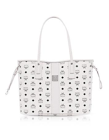 MCM Shopper Project Visetos White Medium Reversible Tote Bag