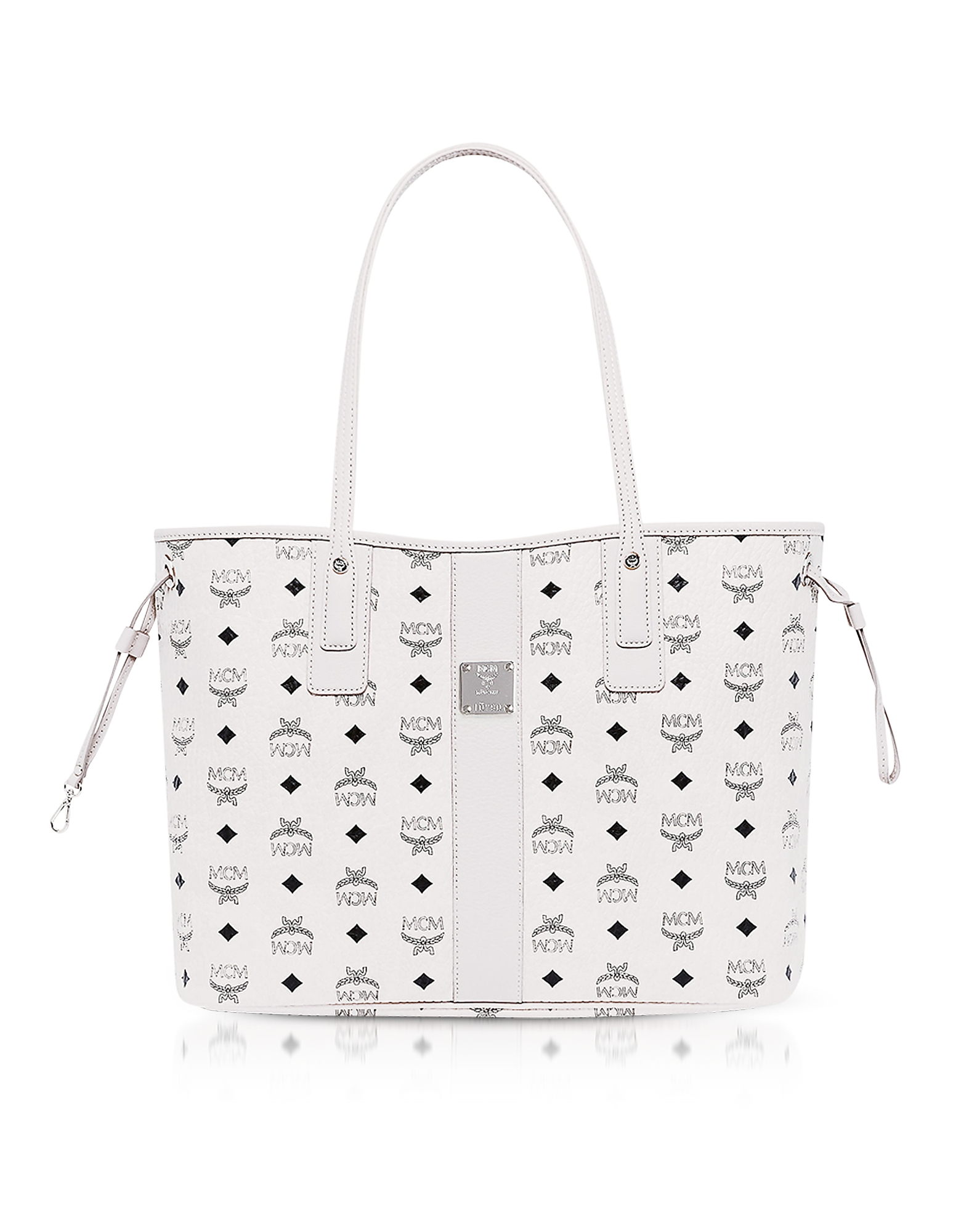 MCM Handbags, Shopper Project Visetos White Medium Reversible Tote Bag