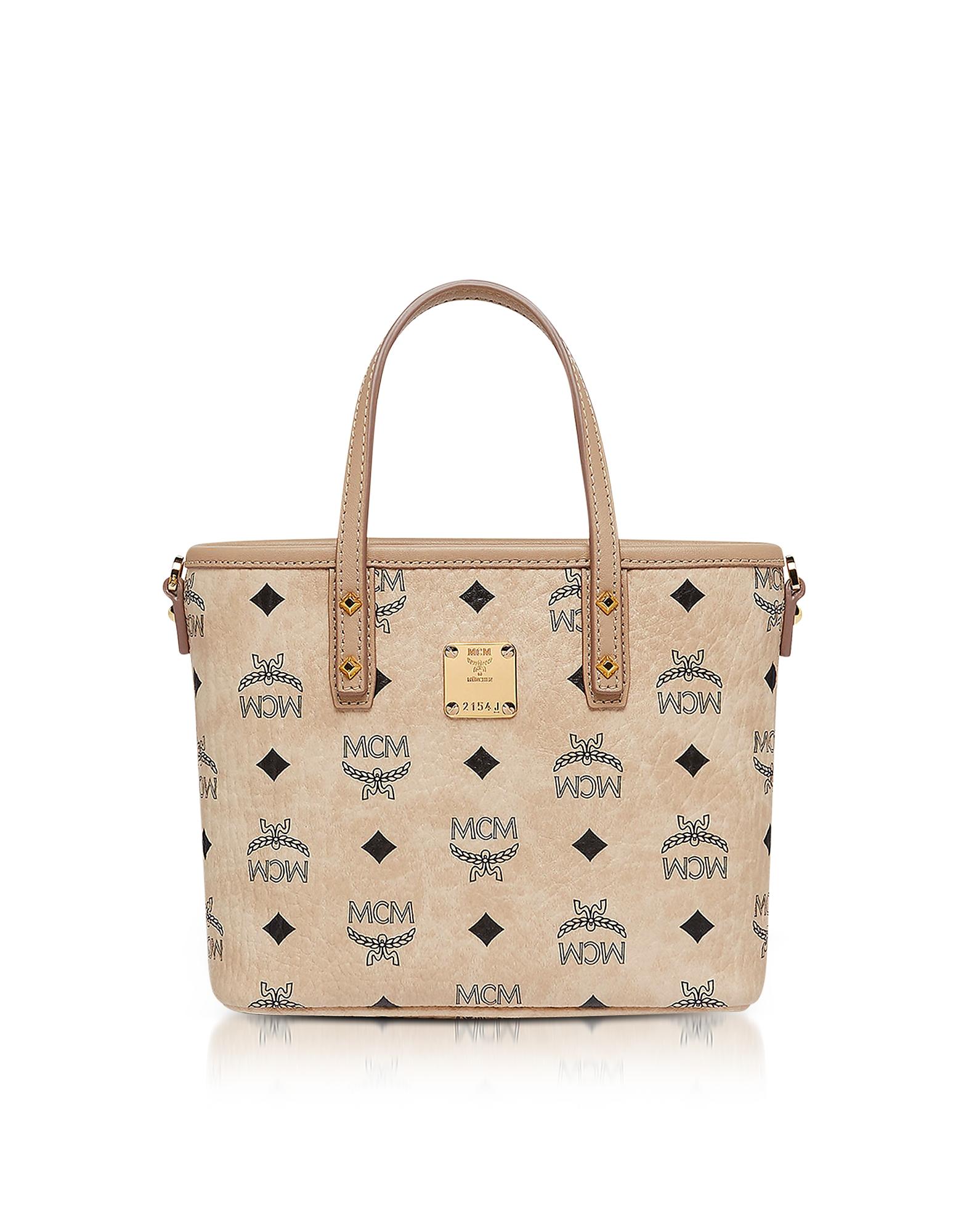 MCM Handbags, Anya Beige Top Zip Mini Tote Bag