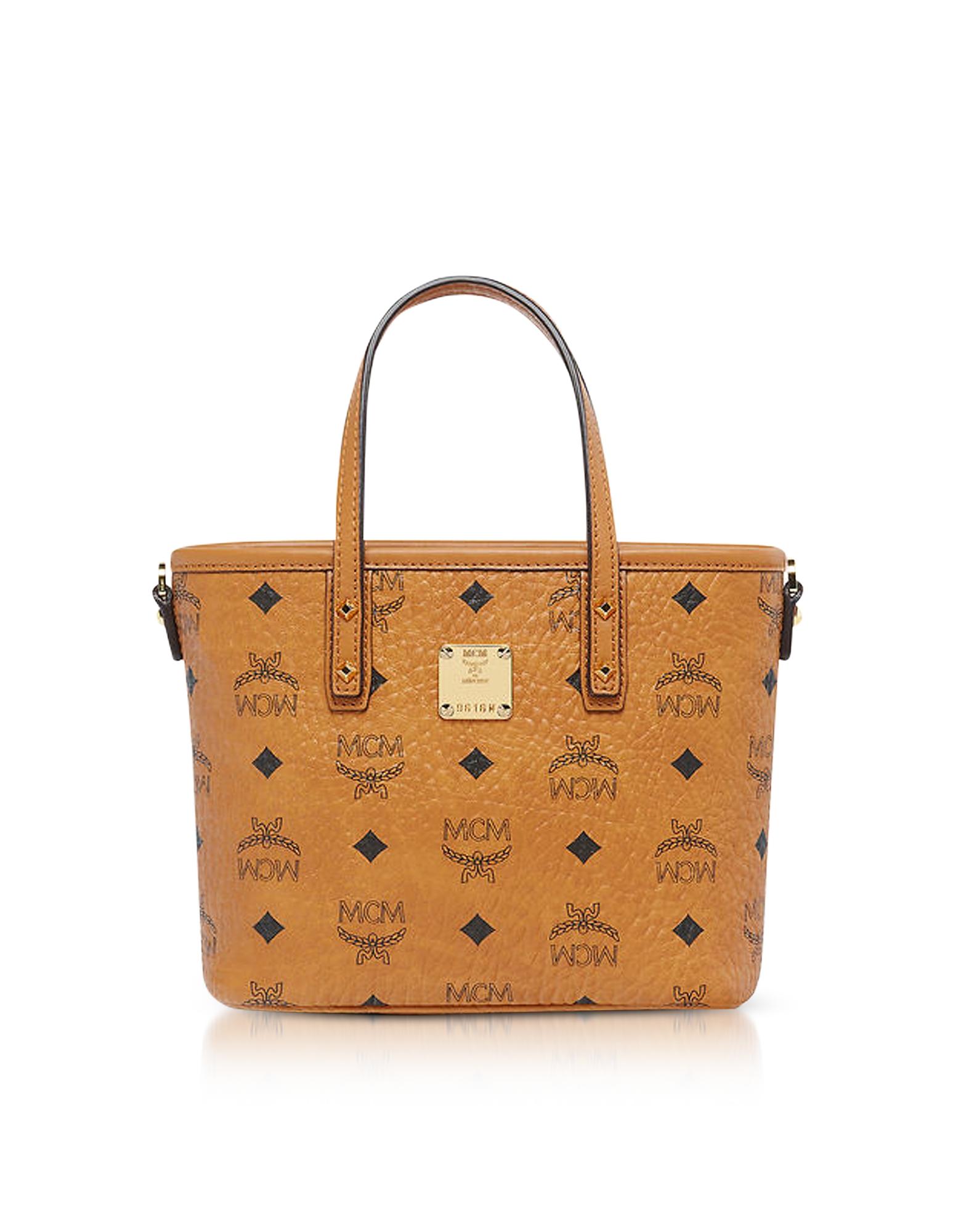 MCM Handbags, Anya Cognac Top Zip Mini Tote Bag