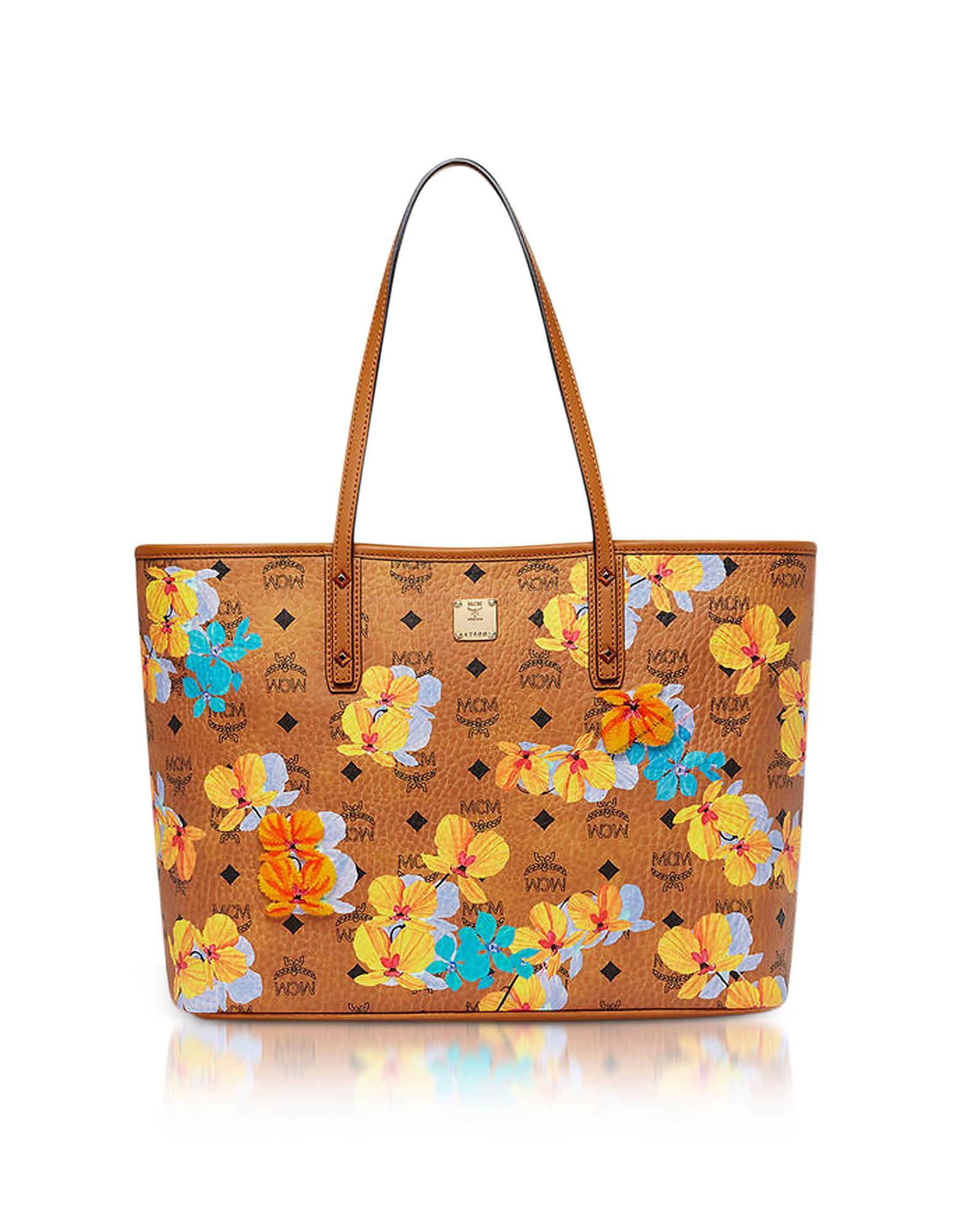 MCM Handbags, Essential Visetos Floral Print Cognac Top Zip Medium Tote Bag