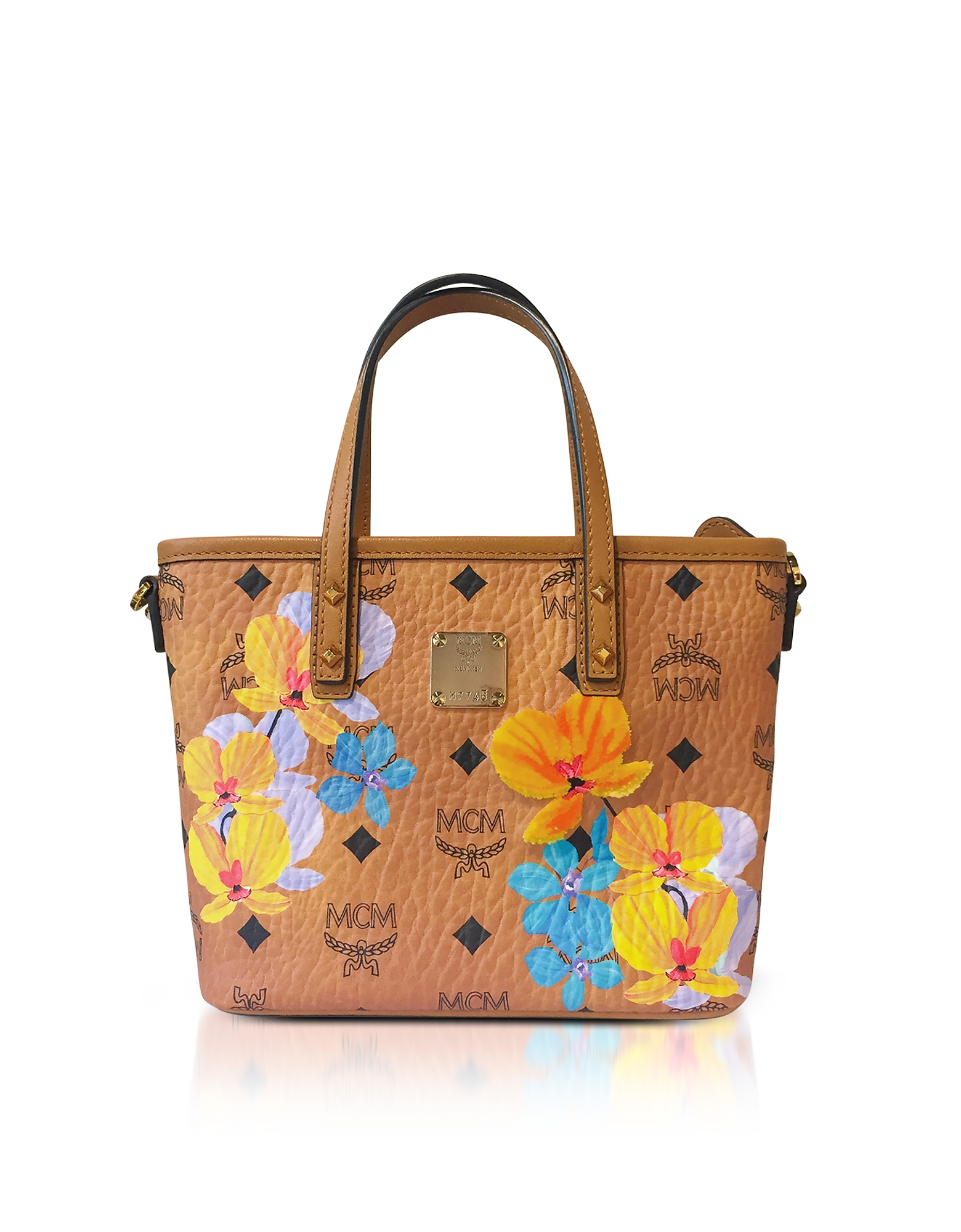 MCM Handbags, Essential Visetos Floral Print Cognac Top Zip Mini Tote Bag