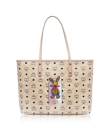 Visetos Studded Rabbit Beige Top Zip Medium Tote Bag cm130218-021-00