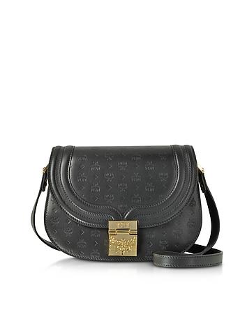MCM Trisha Black Monogrammed Leather Small Shoulder Bag