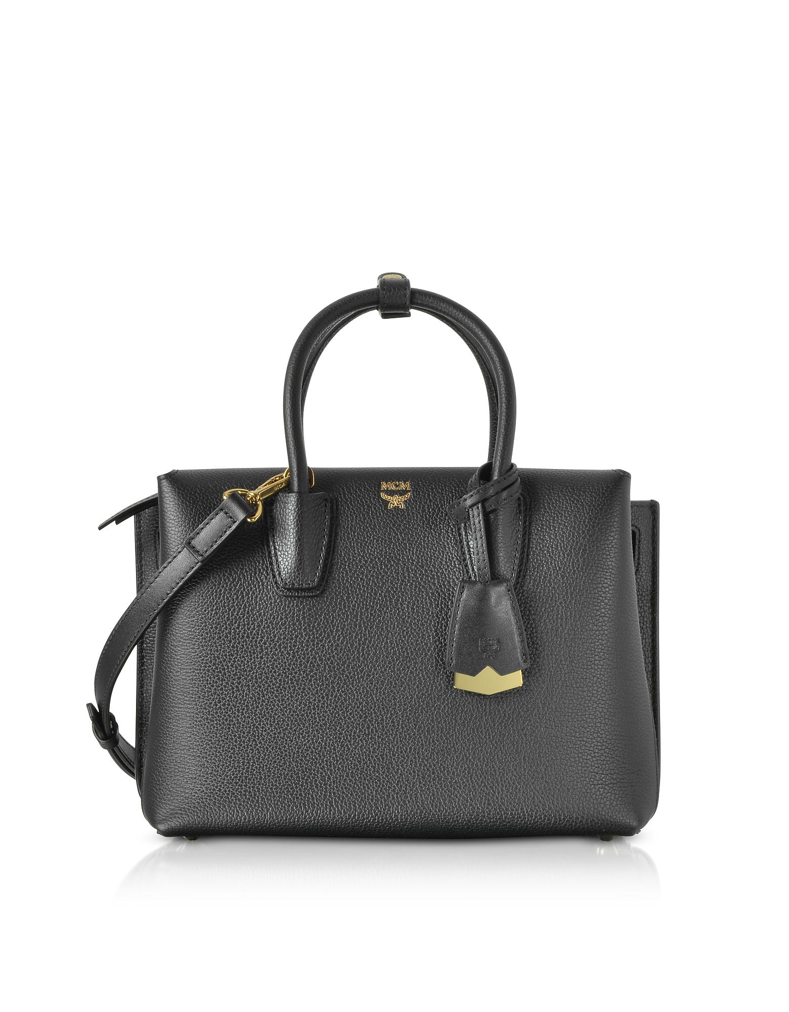 MCM Handbags, Neo Milla Black Leather Small Tote Bag