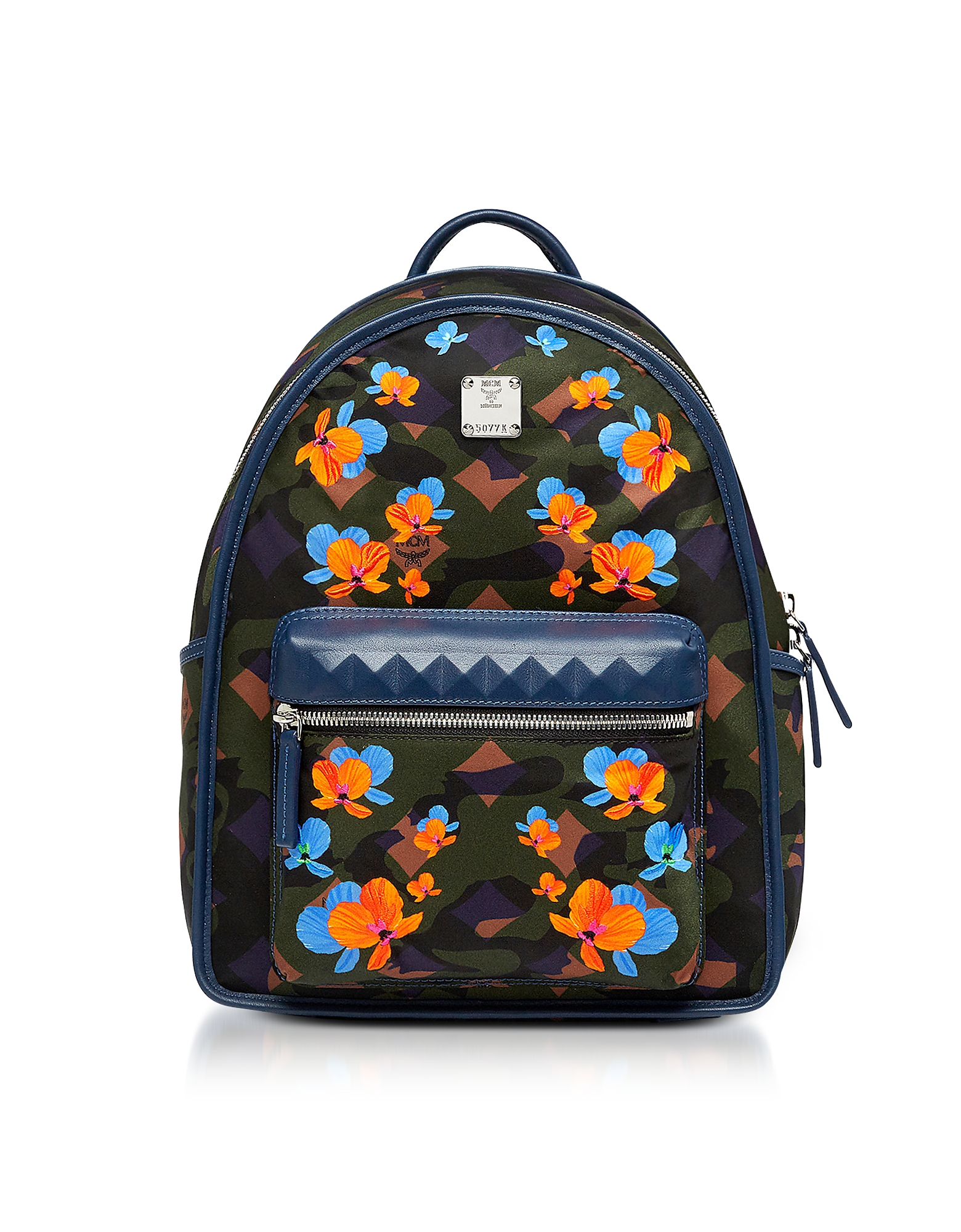 Dieter Loden Green Floral Camo Print Nylon Small Backpack