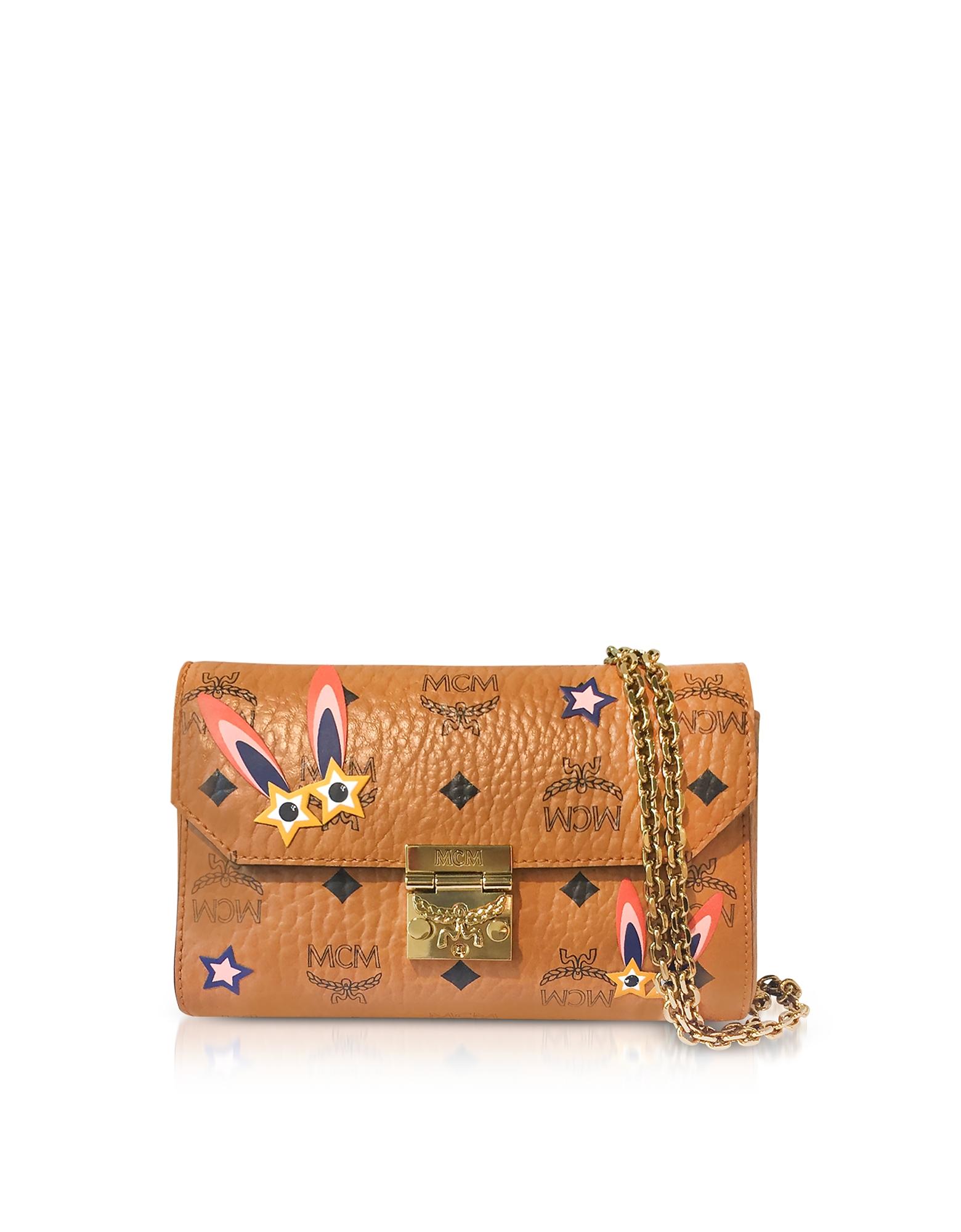 Millie Star Eyed Bunny Visetos Cognac Small Flap Crossbody Bag