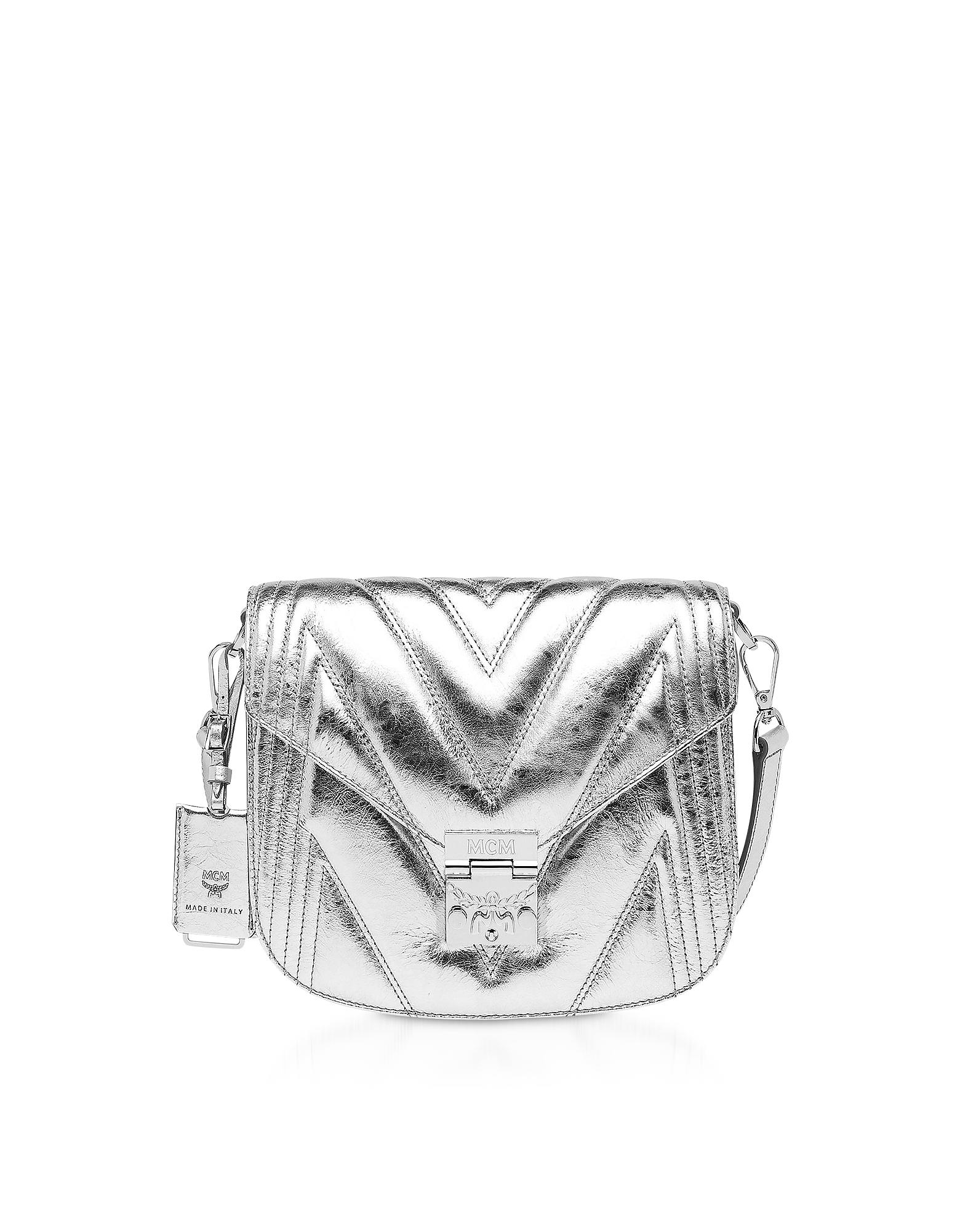 MCM Designer Handbags, Quilted Metallic Leather Patricia Shoulder Bag