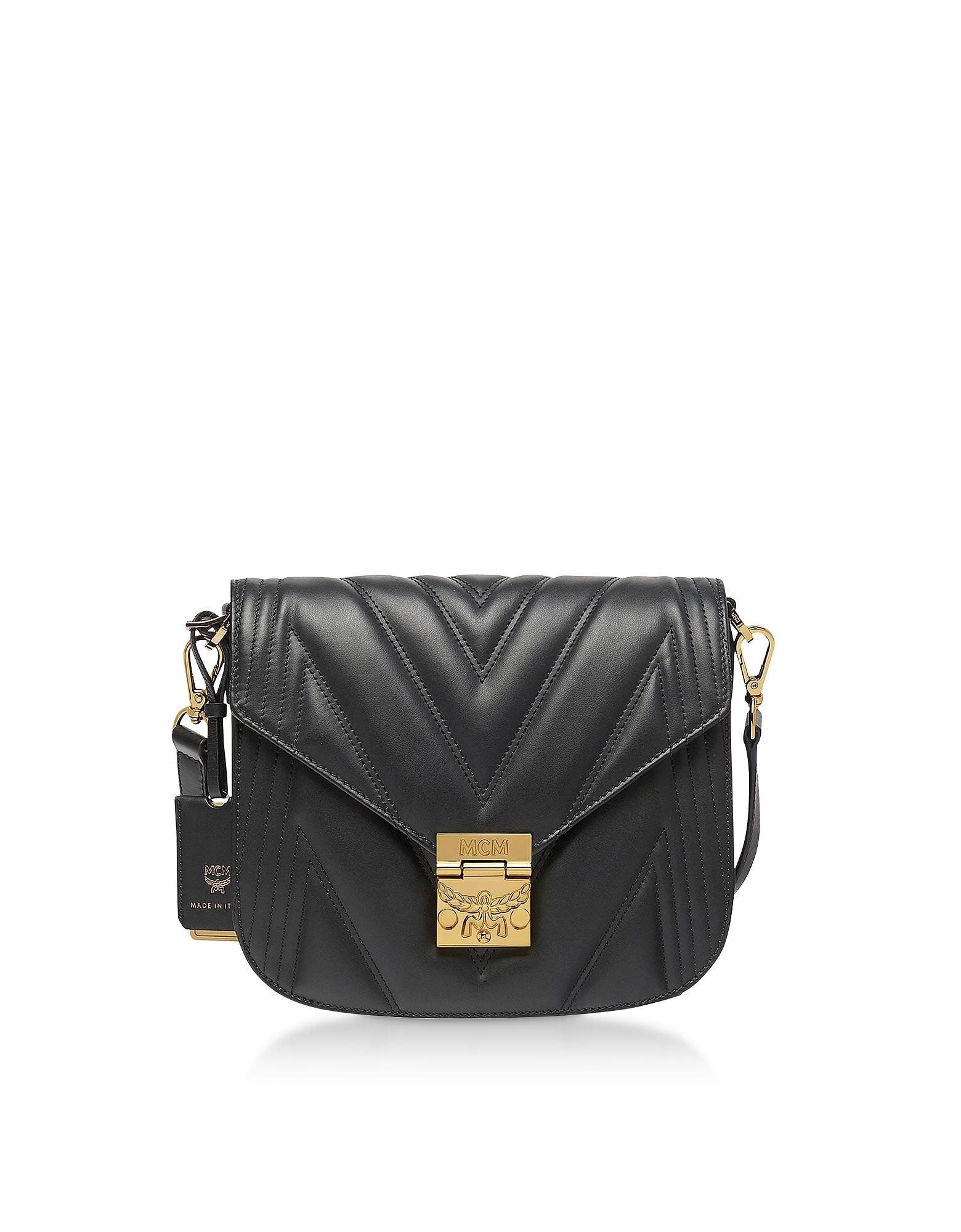 Black Quilted Leather Patricia Shoulder Bag