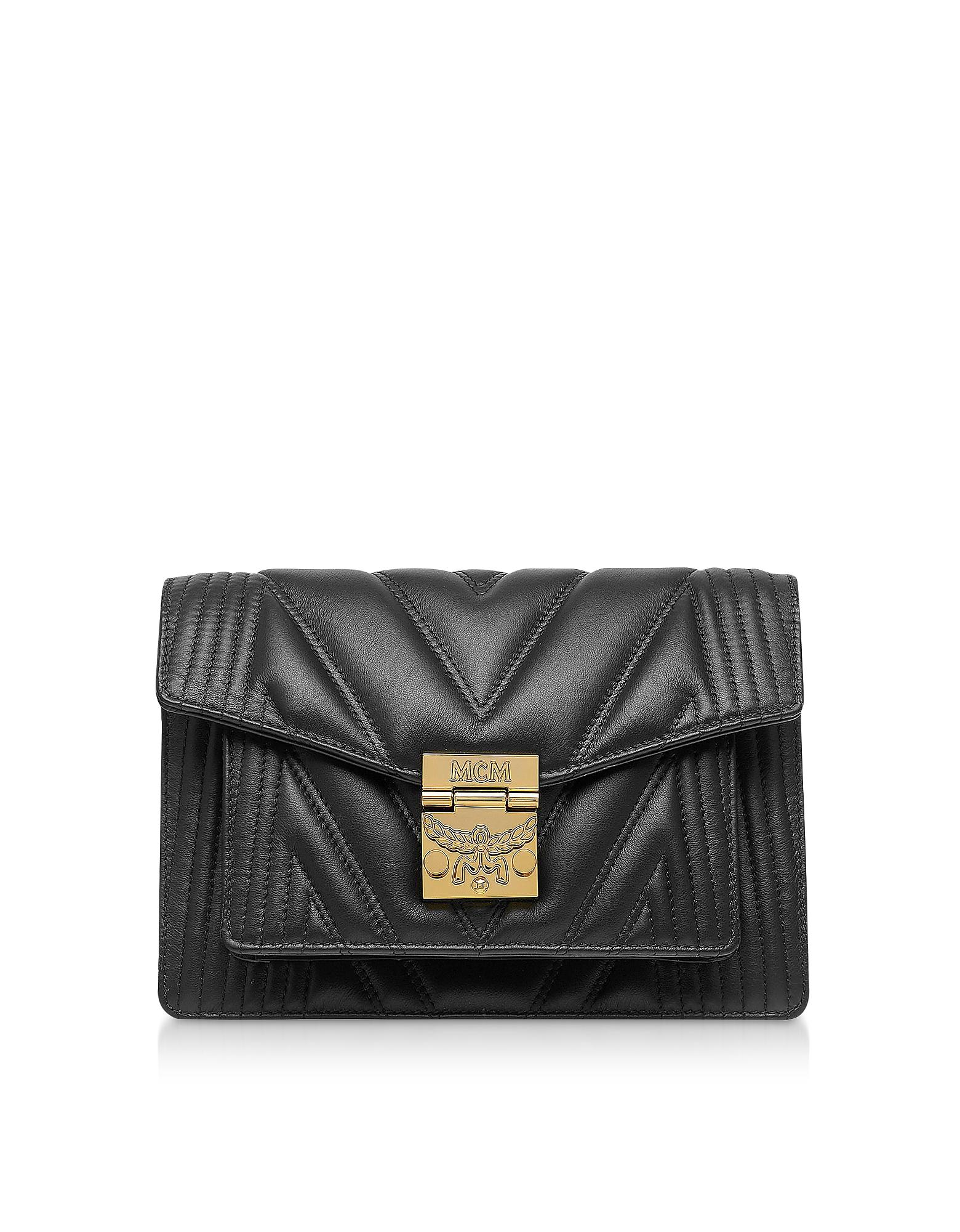 MCM Designer Handbags, Black Quilted Leather Patricia Crossbody Bag