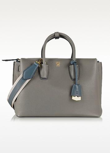 Milla Phanthom Grey Leather Medium Tote - MCM