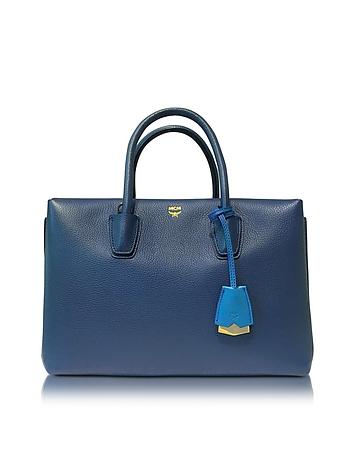 Milla Navy Blue Leather Medium Tote
