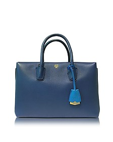 Milla Navy Blue Leather Medium Tote - MCM