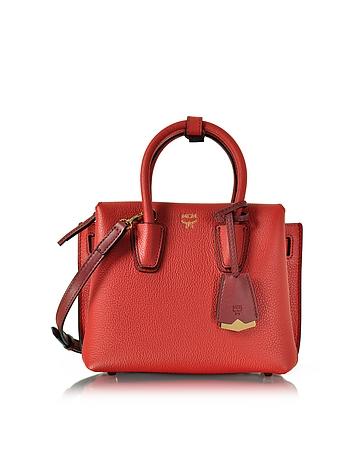 Milla Ruby Red Leather Mini Tote