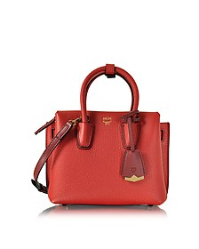Milla Ruby Red Leather Mini Tote - MCM