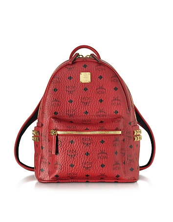 MCM - Stark Ruby Red Small Backpack