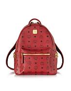 MCM Small Stark Backpack Zaino Rosso Rubino con Borchie - mcm - it.forzieri.com