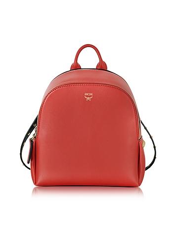 Polke Studs Ruby Red Leather Mini Backpack
