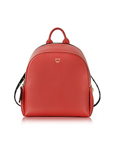 Polke Studs Ruby Red Leather Mini Backpack  - MCM