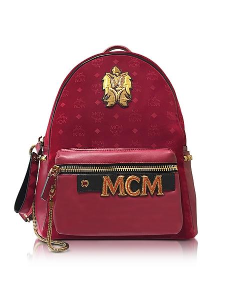 Foto MCM Stark Velvet Insignia Medium Zaino Rosso Rubino con Logo Borse donna