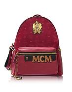 MCM Stark Velvet Insignia Medium Zaino Rosso Rubino con Logo - mcm - it.forzieri.com