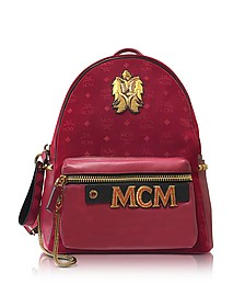 Stark Velvet Insignia Ruby Red Medium Backpack - MCM