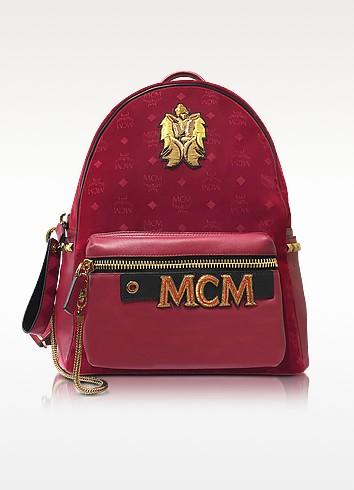 MCM Stark Velvet Insignia - Рубиново-Красный Рюкзак Среднего Размера