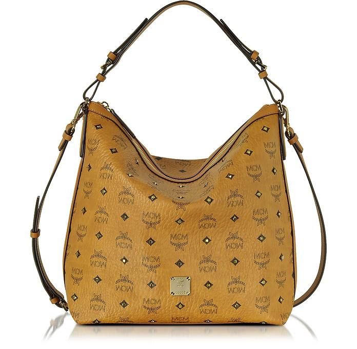 Gold Visetos Cognac Small Hobo Bag - MCM