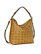 Gold Visetos Cognac Small Hobo Bag - MCM
