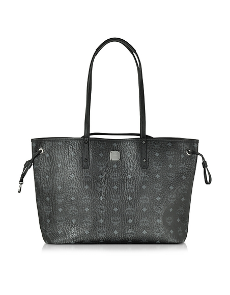 Foto MCM Shopper Project Visetos Reversibile Media in Eco Pelle Nera Borse donna