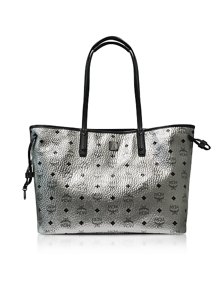 Foto MCM Shopper Project Visetos Reversibile Media in Eco Pelle Silver Borse donna