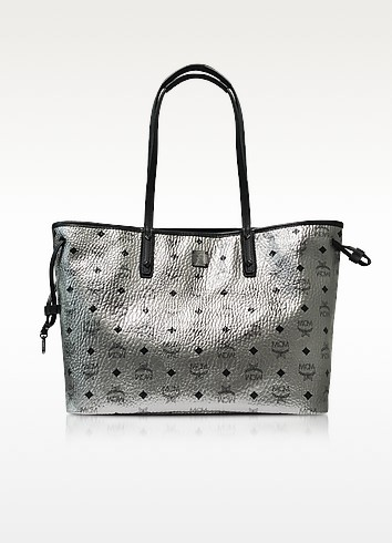 Shopper Project Visetos Silver Metallic Medium Reversible Tote  - MCM