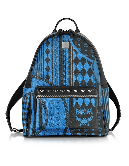 Foto MCM Medium Stark Backpack Zaino Munich Blu Stampa Baroque Borse donna