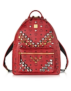 MCM Medium Stark Backpack Zaino Rosso Rubino con Borchie - mcm - it.forzieri.com