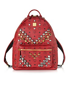 Stark Ruby Red Medium Backpack w/Studs - MCM